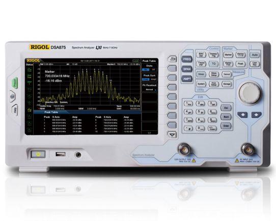 DSA875-TG 7.5 GHz Spectrum Analyzer with Tracking Generator, Rigol